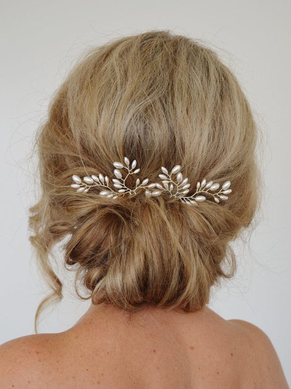 Beautiful White Bride Pearl Hairpins