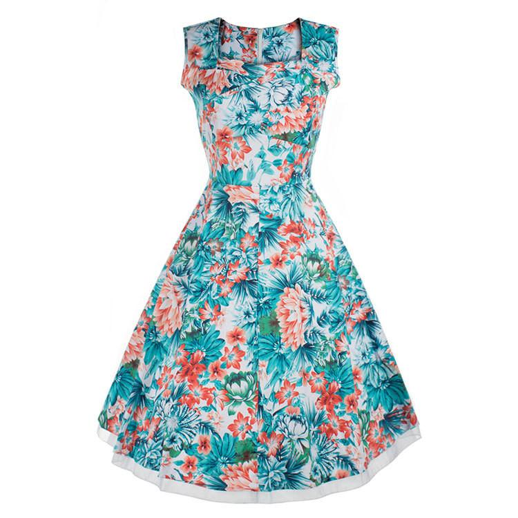 Print Sleeveless Solid Pleated High-waist Square Neck Dress - Meet Yours Fashion - 3