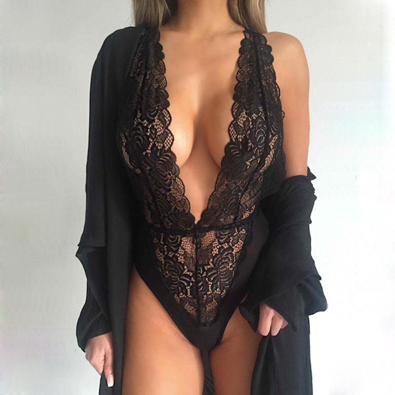 Lace Hollow-Out Halter Triangle Jumpsuit