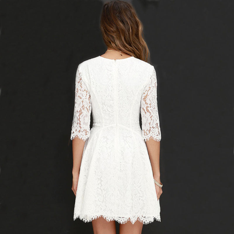 Pure-Color-Lace-Scoop-Half-Sleeves-Short-Dress