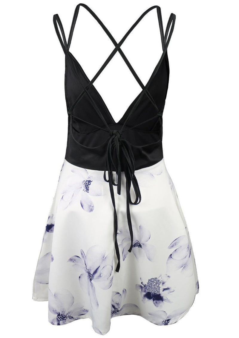 Spaghetti Strap V-neck Sleeveless Print Short Dress