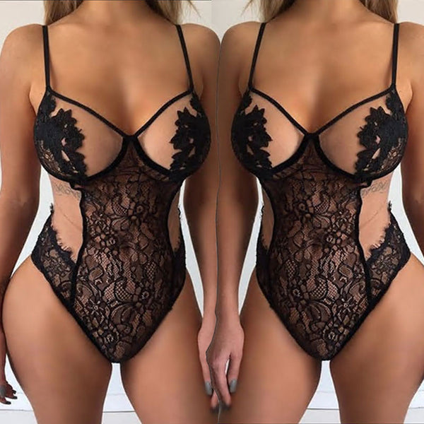 Spaghetti Strap Lace Sexy Lingerie Triangle Jumpsuit
