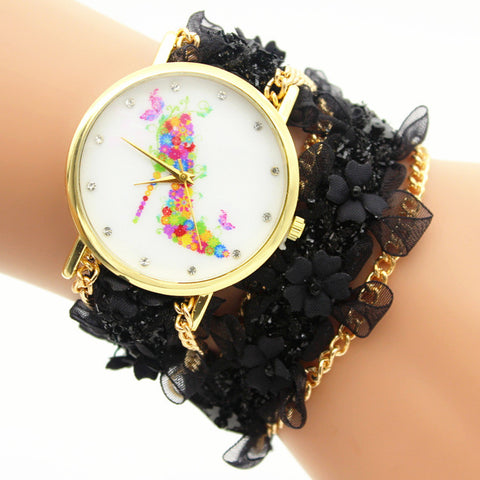 Lace Flower Chain Strap Watch