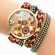 Personality Flower Print Woven Watch
