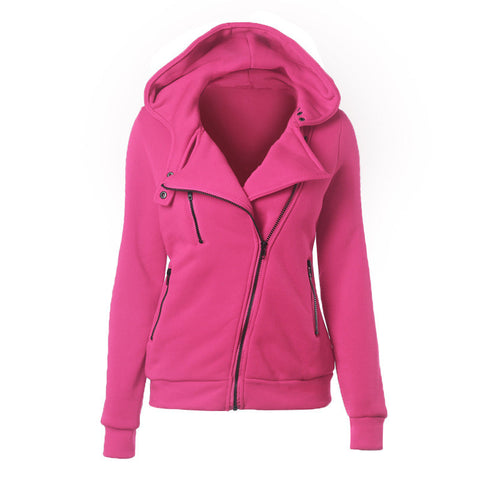 Slide Zipper Pure Color Hooded Lapel Hoodie - Meet Yours Fashion - 4