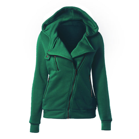 Slide Zipper Pure Color Hooded Lapel Hoodie - Meet Yours Fashion - 7