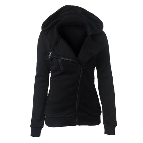 Slide Zipper Pure Color Hooded Lapel Hoodie - Meet Yours Fashion - 6