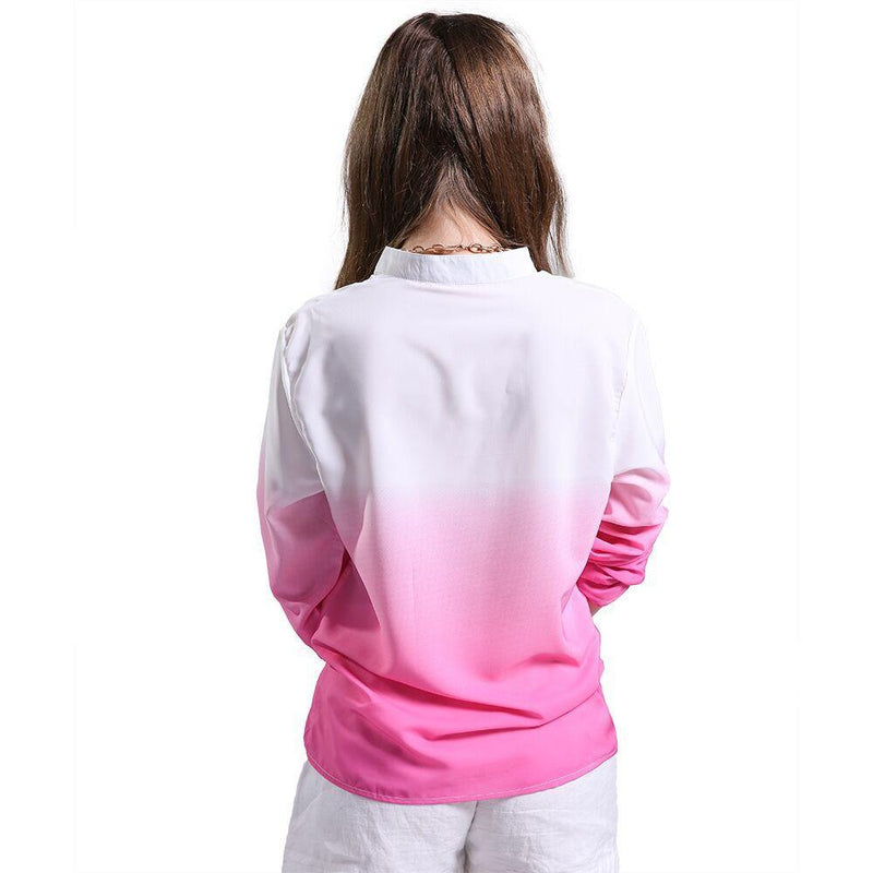 Deep V-neck Long Sleeves Gradually Changing Color Blouse - Meet Yours Fashion - 5