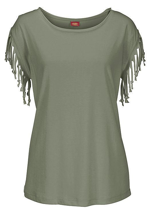 Round Neck Short Sleeve Tassel Soft Cotton T-Shirt