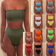 Strapless High Waist Pure Color Two Pieces Swimwear