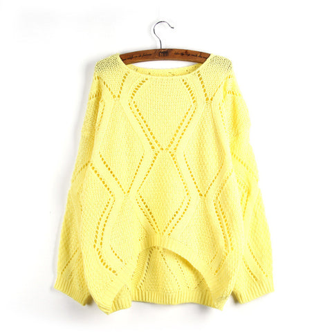 Asymmetric Pullover Crochet Loose Solid Short Sweater - Meet Yours Fashion - 5