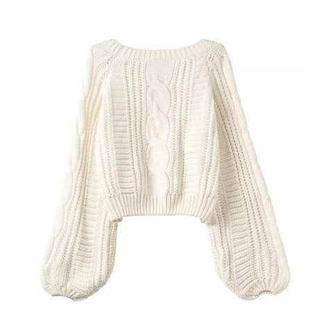 Cable Sleeve Coarse Yam Pure Color Pullover Sweater - Meet Yours Fashion - 2