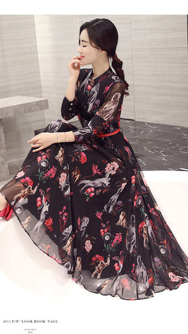 Long Sleeves High Neck Flower Print Loose Ankle Length Chiffon Dress - Meet Yours Fashion - 4
