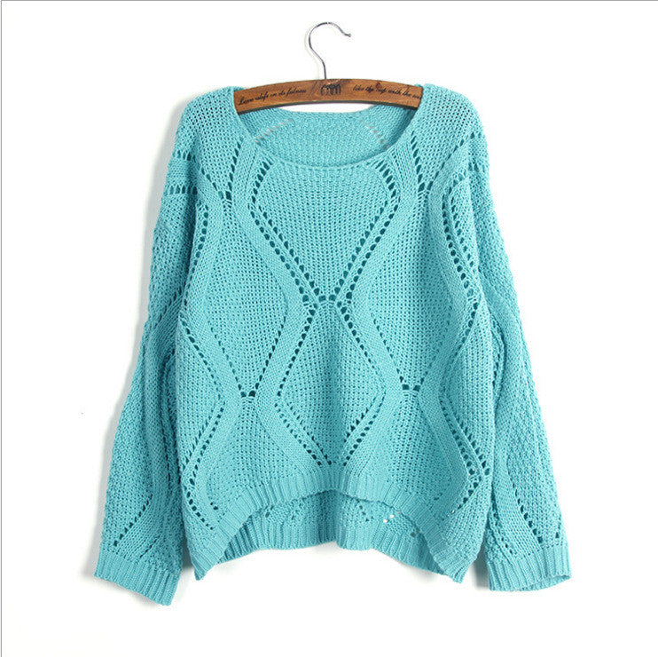 Asymmetric Pullover Crochet Loose Solid Short Sweater - Meet Yours Fashion - 7