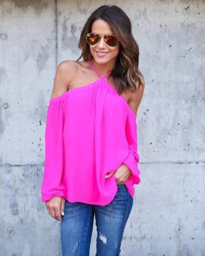 Halter Off-shoulder Long Sleeves Loose Street Chic Blouse - Meet Yours Fashion - 6