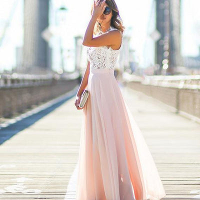 Fashionable Lace Splicing O-neck Sleeveless Long Dress