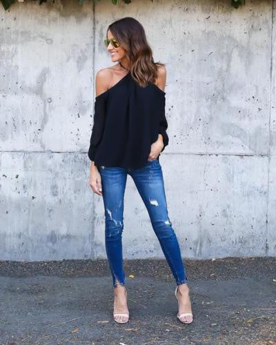 Halter Off-shoulder Long Sleeves Loose Street Chic Blouse - Meet Yours Fashion - 5