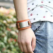 Pure Color Wide Strap Alloy Decorate Bracelet