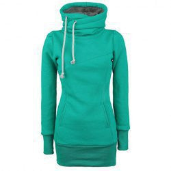 Long Slim Hooded Solid Color High Collar Hoodie - Meet Yours Fashion - 4