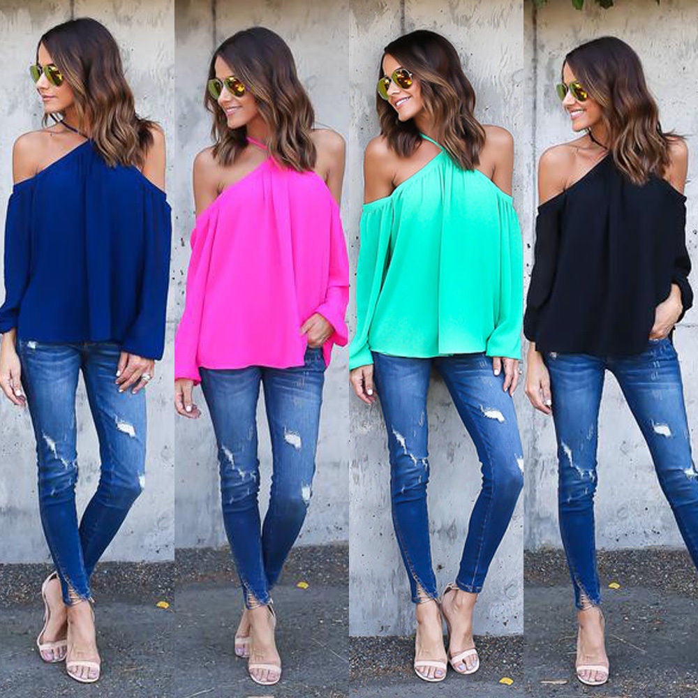 Halter Off-shoulder Long Sleeves Loose Street Chic Blouse - Meet Yours Fashion - 2