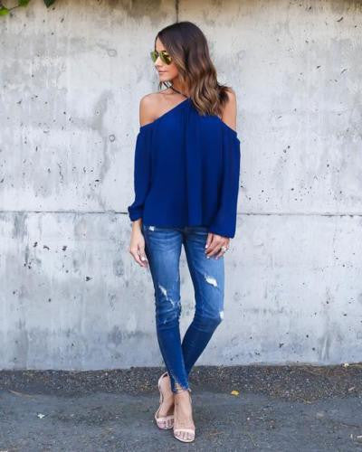 Halter Off-shoulder Long Sleeves Loose Street Chic Blouse - Meet Yours Fashion - 1