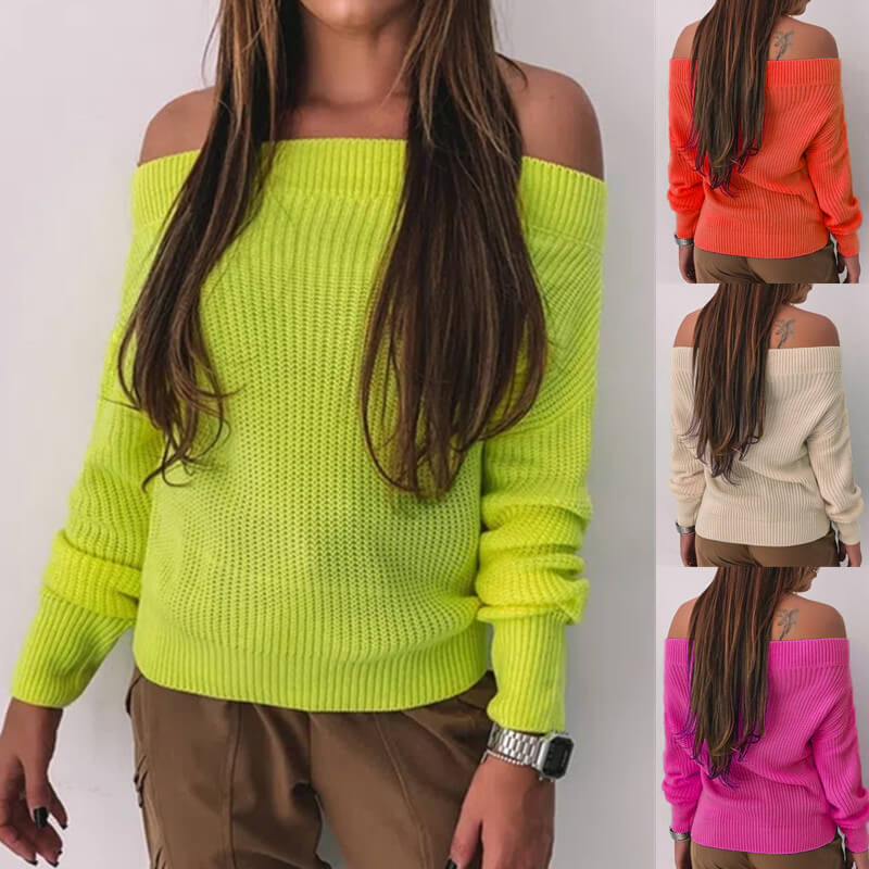 Off Shoulder Solid Knitted Sweater