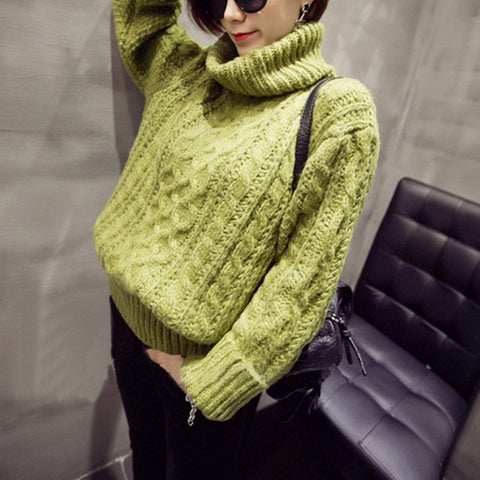 High Neck Pullover Loose Solid Color Knit Sweater