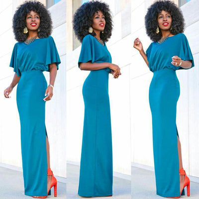 Pure Color Slit O-neck Short Sleeve Long Dress