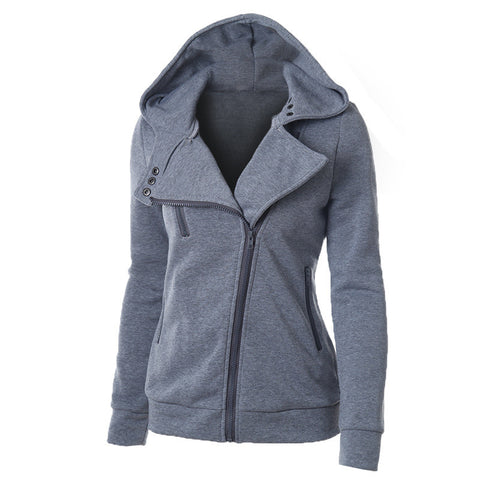 Slide Zipper Pure Color Hooded Lapel Hoodie - Meet Yours Fashion - 5