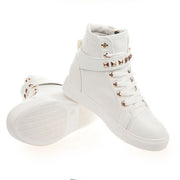 Fashion Skull Decorate Flat High Cut Women's Canvas Rivet Sneaker - MeetYoursFashion - 7