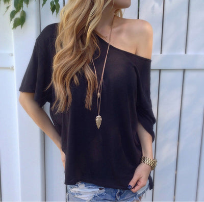Off-shoulder Casual Pure Color Short Sleeves T-shirt