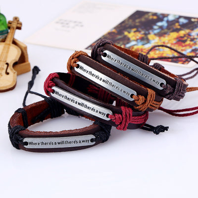Retro Alloy Letters Braided Bracelet