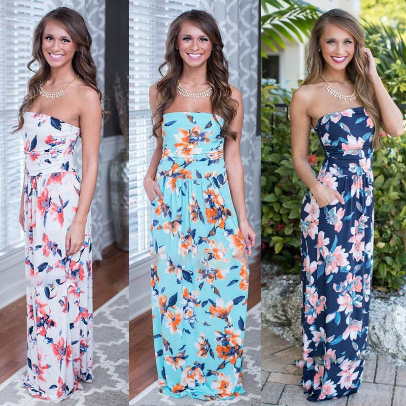 Print Strapless Backless Sleeveless Colorful Long Dress - Meet Yours Fashion - 2