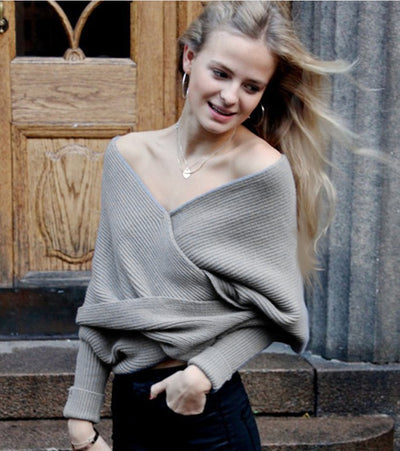 Ribbed Knit Strapless V-neck Off Shoulder Sweater - Meet Yours Fashion - 1