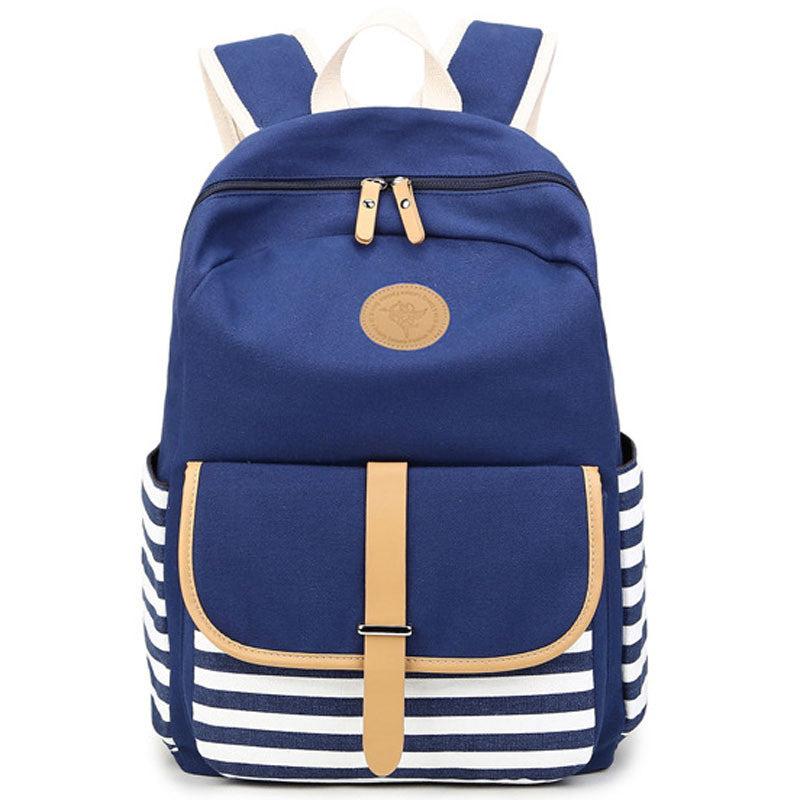 Stripe Print Canvas Backpack School Travel Bag - Meet Yours Fashion - 1