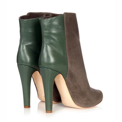 Patchwork Stiletto High Heel Round Toe Ankle Boots