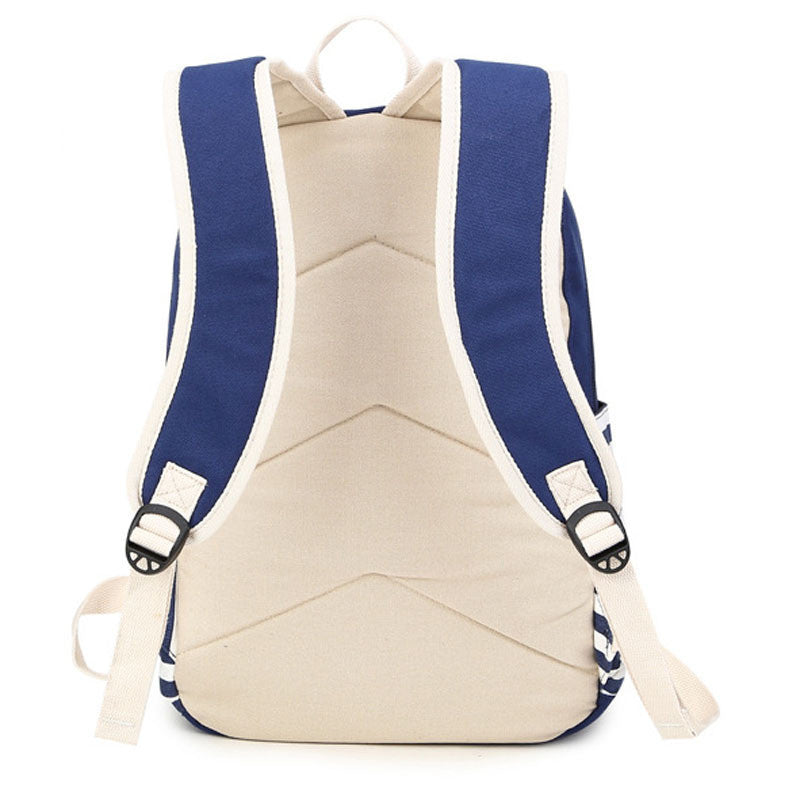 Stripe Print Canvas Backpack School Travel Bag - Meet Yours Fashion - 8