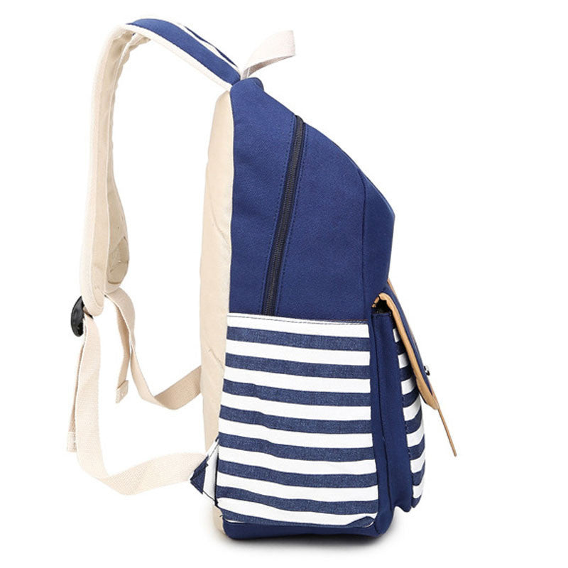 Stripe Print Canvas Backpack School Travel Bag - Meet Yours Fashion - 7