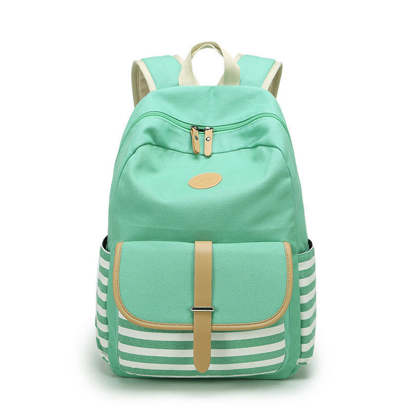 Stripe Print Canvas Backpack School Travel Bag - Meet Yours Fashion - 6