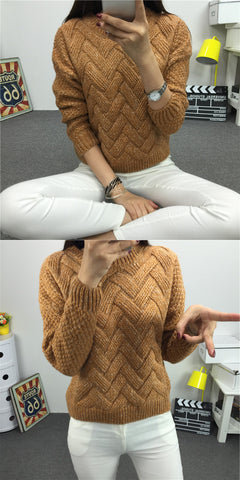 Dropped Shoulder Scoop 3/4 Sleeves Solid Pullover Sweater - Meet Yours Fashion - 4
