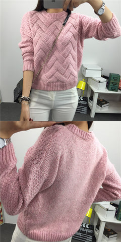 Dropped Shoulder Scoop 3/4 Sleeves Solid Pullover Sweater - Meet Yours Fashion - 3