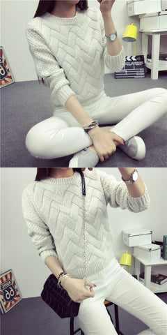 Dropped Shoulder Scoop 3/4 Sleeves Solid Pullover Sweater - Meet Yours Fashion - 6