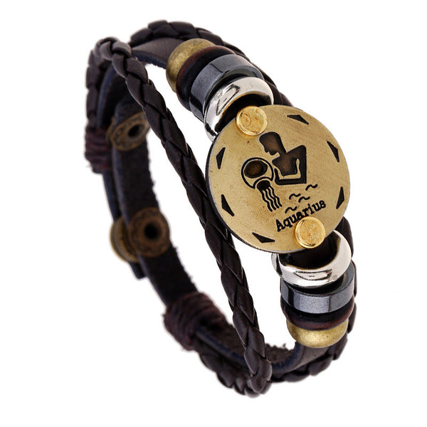 12 Constellation Woven Leather Snap Bracelet