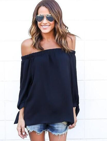 Off-shoulder Split Casual Pure Color Long Sleeves Blouse - Meet Yours Fashion - 4