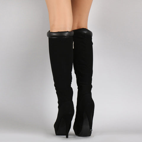 Straps Stiletto Heel Round Toe Platform Zipper Long Boots