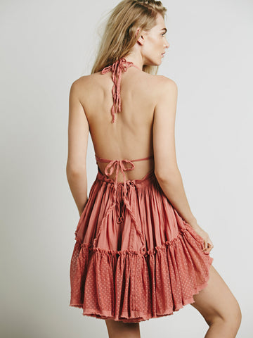 Pure Color Backless Deep V-neck Sexy Short Dress