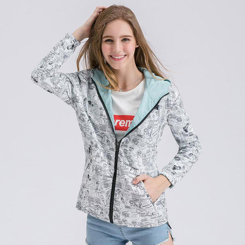 Two Side Wearable Print/Solid Color Women Hooded Short Coat