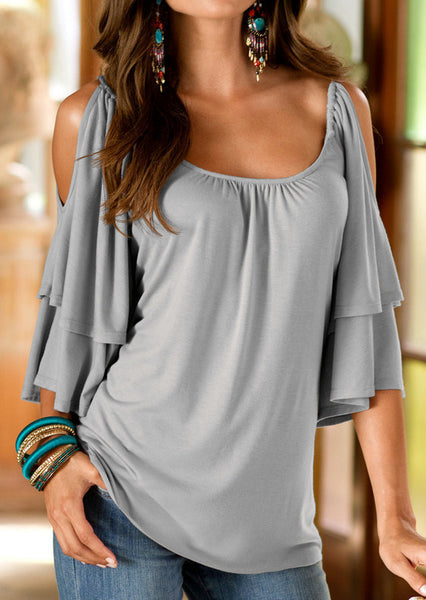 Dew Shoulder Double Layer 1/2 Sleeve Scoop Blouse