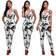 Deep V-neck Sleeveless Print Long Slim Jumpsuit