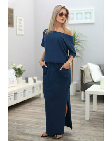 Pure Color Scoop Short Sleeves Long Dress